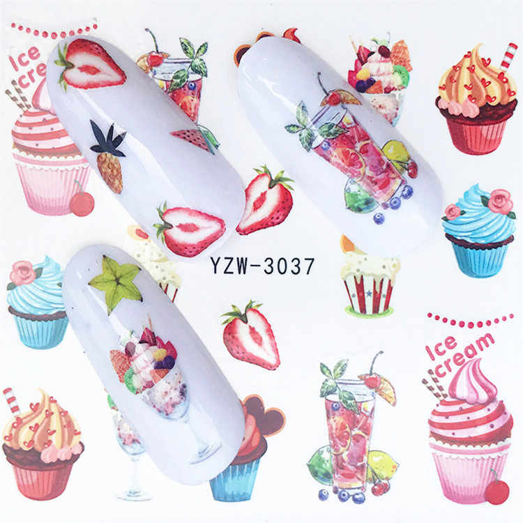 1 Pcs Strawberry Cake Nail Sticker Water Decals Women White Flower Cat Butterfly Transfer Nail Art Decoration 2020 M3NS5