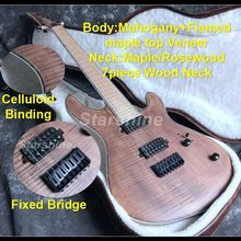 E-G1 High Quality 7 strings Electric guitar Neck Thru Body Flamed maple Top Veneer Maple Fingerboard strings thru body ASH Body недорго, оригинальная цена