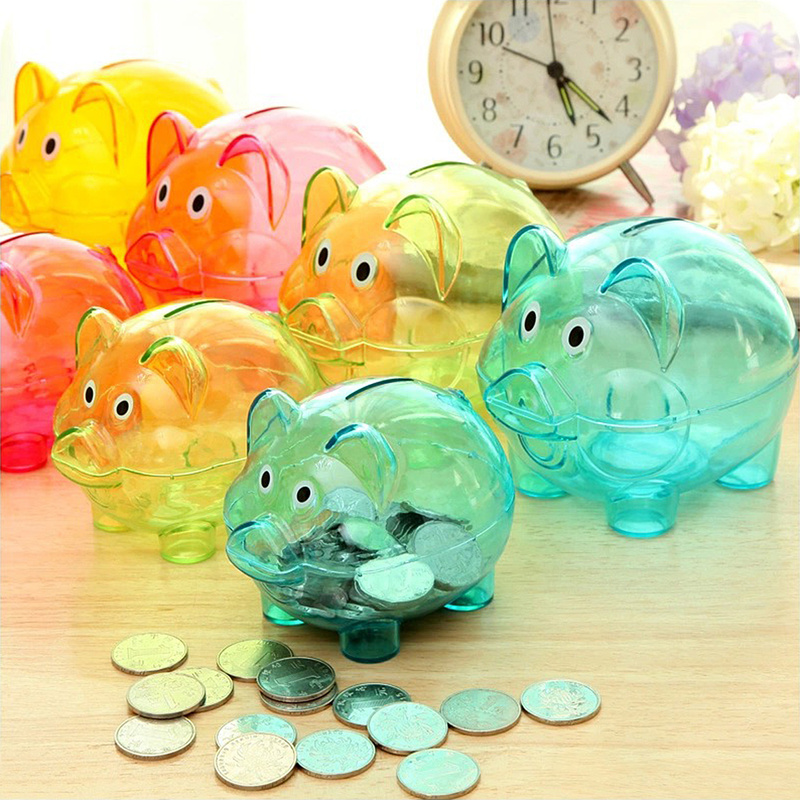 New Transparent Plastic Money Saving Box Case Coins Cartoon Pig Shaped Piggy Bank Cash Coin Money Box Cartoon Pig Shaped Gift