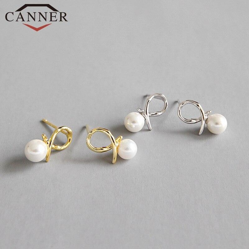 INS Minimalist 925 sterling silver Heart Shaped Stud Earrings for Women Cute Gold Silver color Geometric Mini Stud Earrings 2019