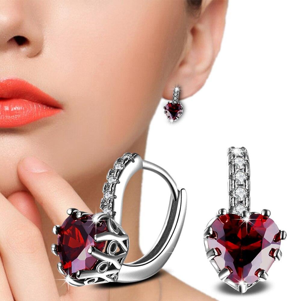 Wedding-Earrings 925-Silver Jewelry Women's Crystal Brincos Female Heart Fashion Luxury