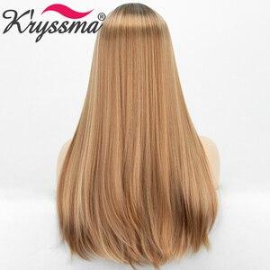 Image 5 - Длинные прямые синтетические парики с челкой, хайлайтер медовый блонд Омбре Косплей парики для женщин черный коричневый корень термостойкий парик