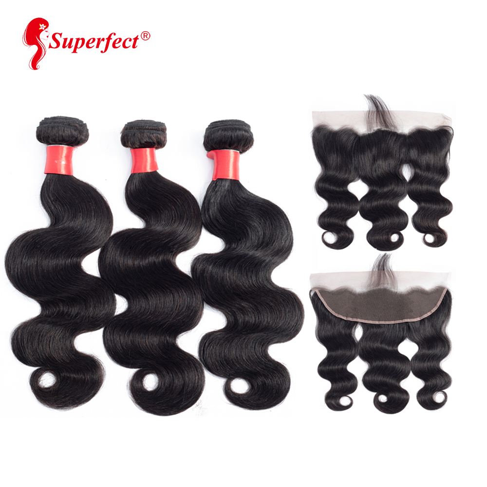 Peruvian Body Wave Bundles With Frontal 13X4 Lace Frontal Closure With Bundles Remy Human Hair Bundles With Frontal-in 3/4 Bundles with Closure from Hair Extensions & Wigs    1