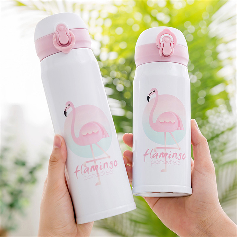 Flamingo Thermocup Bouncing Cover Bottle Vacuum flask Thermal Mug Travel Thermos Cup Stainless Steel Water Bottle 350ML 500ML