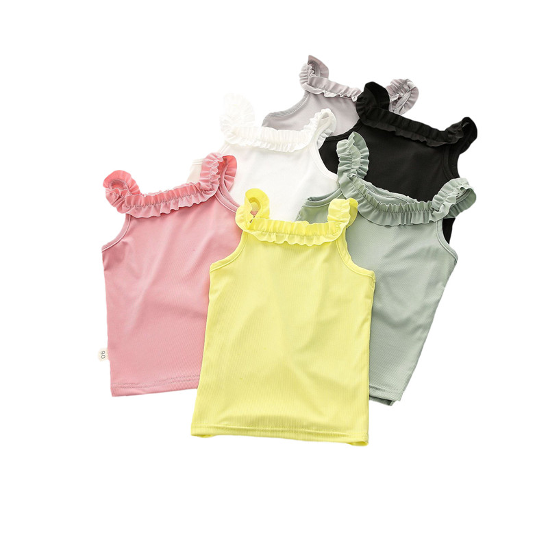 Summer Girls T-shirts Cotton Sleeveless Shirts For Girls Tops Tees Outwear Clothing Baby Girls Clothes 2020 New Kids Singlets