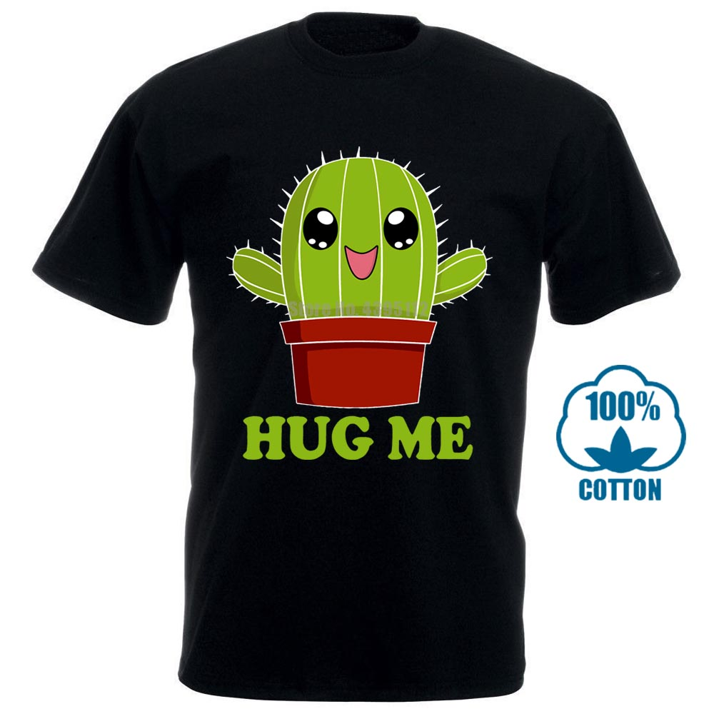 Newest 2017 Men'S Fashion T Shirt Cactus <font><b>Hug</b></font> <font><b>Me</b></font> T Shirt Funny <font><b>Tshirt</b></font> Cactus Shirt Funny Shirt The Mountain 011747 image