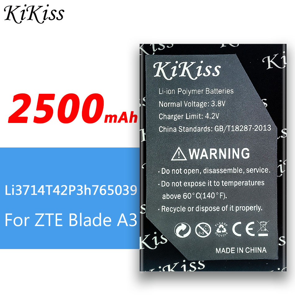 2500mAh kikiss <font><b>Battery</b></font> LI3714T42P3H765039 For <font><b>ZTE</b></font> <font><b>Blade</b></font> <font><b>A3</b></font> T220 AF3 T221 A5 AF5 High Replacement <font><b>Battery</b></font> Real Capacity image
