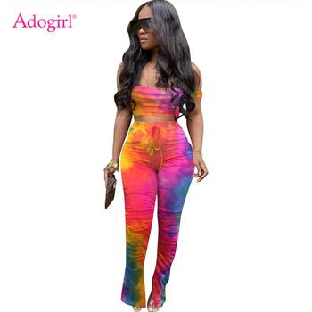 Adogirl Tie Dye Print Two Piece Set Women Sexy  Spaghetti Straps Crop Top Flare Split Pants Casual Tracksuit Female Overall 2020 adogirl women tie dye print camisole two pieces set fashion casual sleeveless crop top shorts tracksuit summer fitness outfits