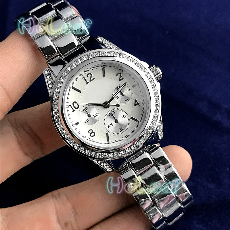 Fashion Brand Women Watches Silver Gold Round Stainless Steel Band Quartz Watch Female Diamond Clock Mujer Relogios