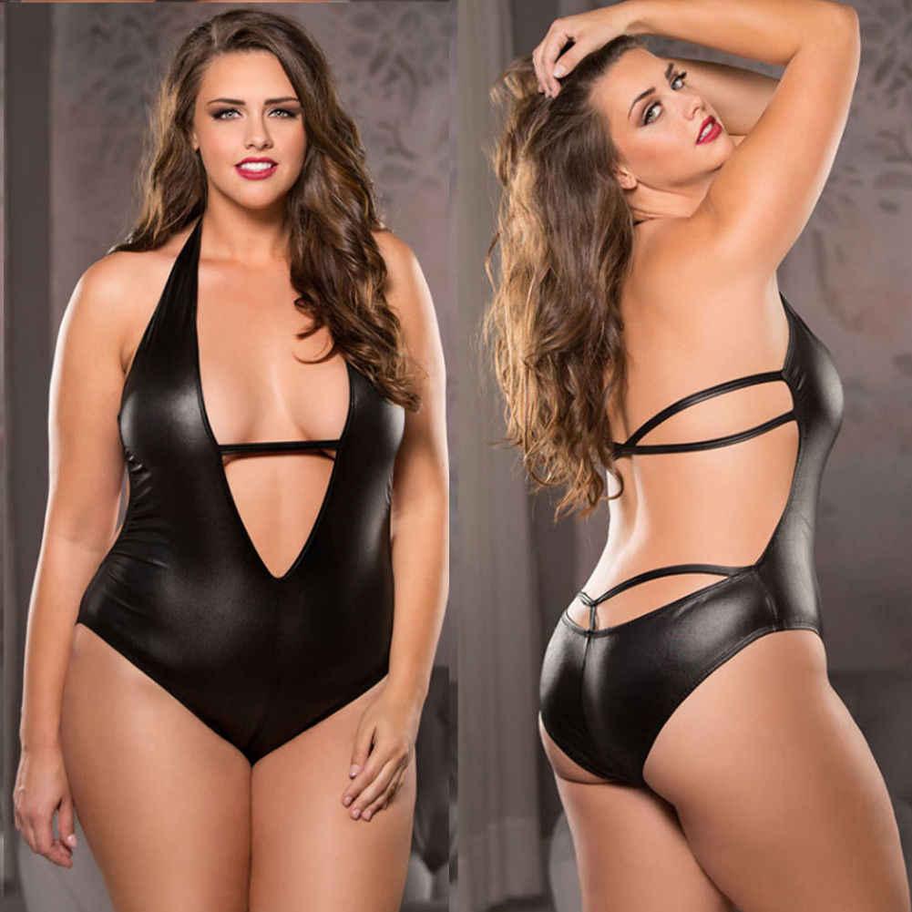 Sexy para mujer una pieza de cuero de charol Catsuit erótico leotardo disfraces Wetlook Halter sin mangas de alto corte Bodi Clubwear