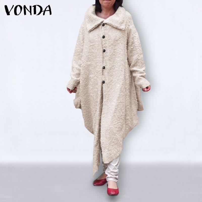 Winter Warm Coats 2021 VONDA Female Irregular Jackets Faux Fur Coats Casual Solid Overcoat Button Up Push Outwear Plus Size 5XL