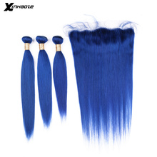 Blue Straight Bundles With Frontal Brazilian Ombre Bundles With Frontal 4pcs/lot Remy Hair Extension