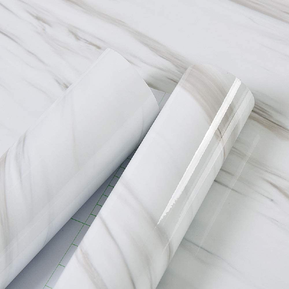 White Marble Self Adhesive Wallpaper for Kitchen Countertop Cabinet Furniture Removable Contact Paper Bathroom PVC Wall sticker