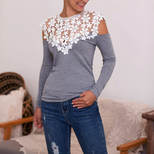2019 Women Slim Sexy Off-shoulder Top New Fashion Lace Stitching Floral Hollow Out T Shirt Female Long-sleeved Casual T-shirt off the shoulder lace insert cut out t shirt