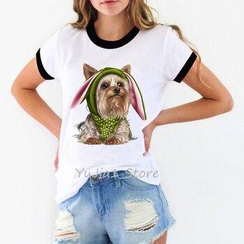 Women tshirt cute puppy Yorkies print t-shirt tee shirt femme harajuku kawaii clothes summer top dog lover t shirt streetwear