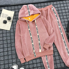 Pink Velvet gold velvet sportswear suit womens casual 2019 spring autumn winter new fashion two-piece plus cashmere sweater