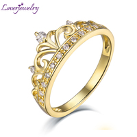 LOVERJEWELRY Women Crown Diamonds Rings Real 18K Yellow Gold Engagement Ring For Ladies Party Anniversary Best Gift Fine Jewelry