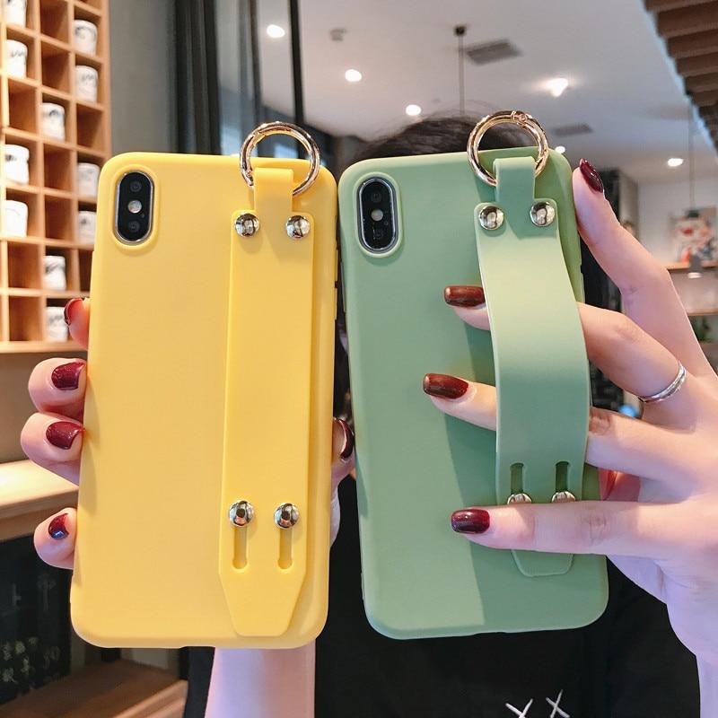 Ремешок на запястье чехол для телефона для samsung Galaxy A10 A20 A30 A40 A50 A70 A20E A10E A30S A50S Карамельный цвет чехол с браслет Чехлы-накладки      АлиЭкспресс