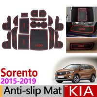 Posavasos de goma antideslizantes para KIA Sorento 2015 2016 2017 2018 2019 Sorento Prime UM MK3 accesorios Adhesivos para coche