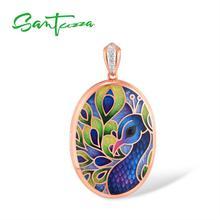 SANTUZZA قلادة فضية للنساء حقيقية 925 فضة الملونة المينا الطاووس صورة المنجد العصرية غرامة مجوهرات اليدوية