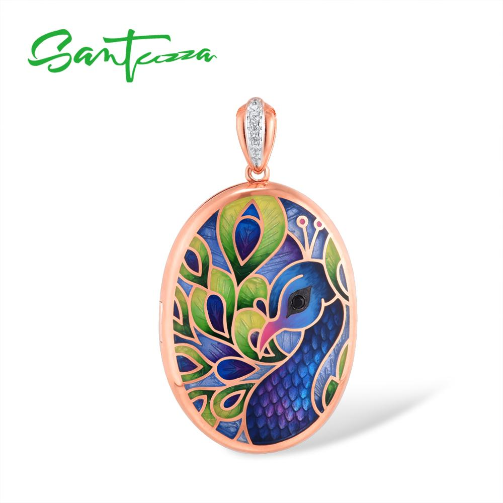 SANTUZZA Silver Pendant For Women Genuine 925 Sterling Silver Colorful Enamel Peacock Photo Locket Trendy Fine Jewelry HANDMADE