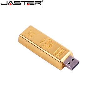 Image 5 - JASTER gold bullion Model USB 2.0 pamięć usb złoty pasek Pen Drive 4GB 8GB 16GB 32GB 64GB metalowy dysk przenośny prezenty