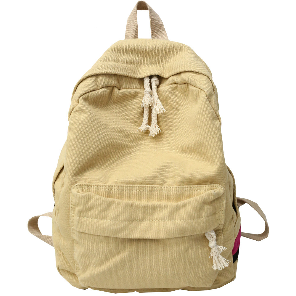 Canvas Backpack Women Large Capacity Schoolbags Casual Solid Color Travel Laptop Backpack Teen Girls Bookbags Rucksack Female