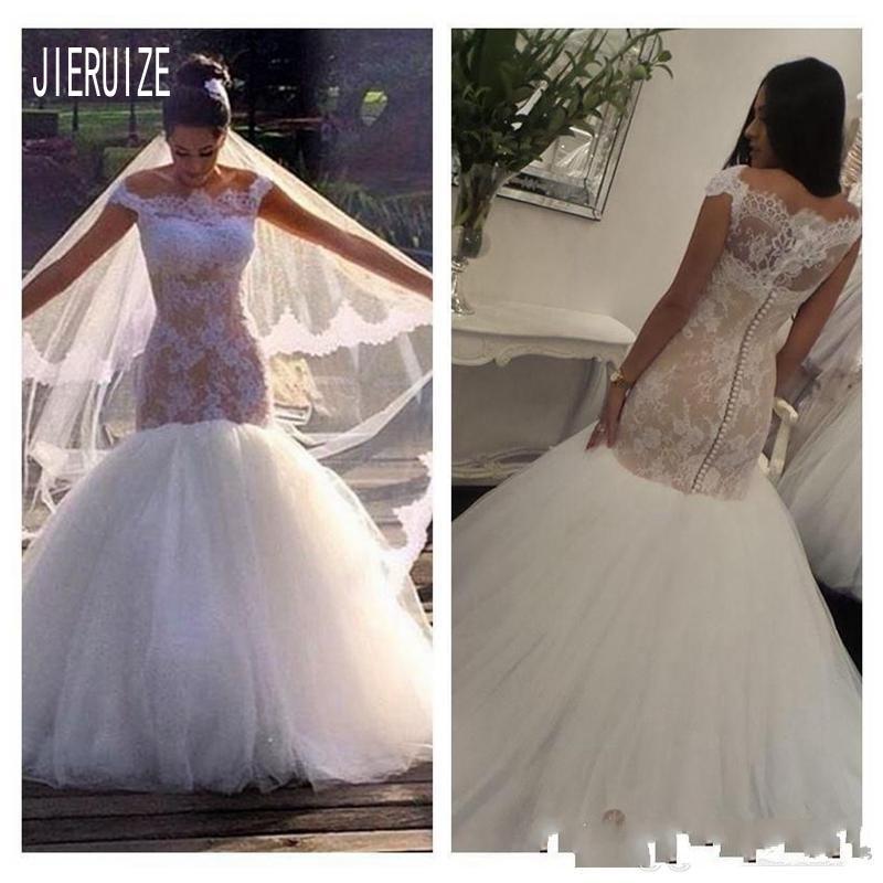 JIERUIZE New Lace Mermaid Wedding Dresses Off The Shoulder Button Back Bohemian Wedding Gowns Bridal Dresses Vestido De Novia