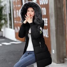 Chaqueta de Invierno para mujer 2019 abrigo de invierno acolchado con capucha de piel de moda para mujer