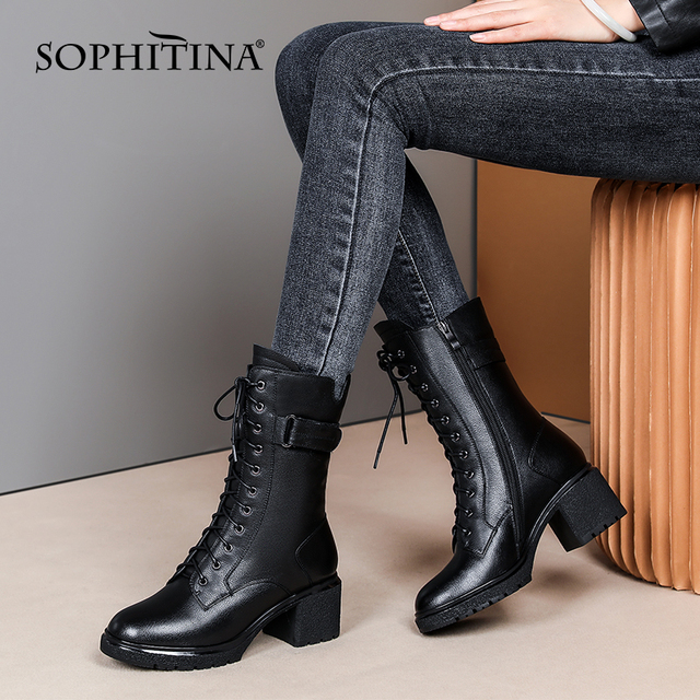 Women Boots Classics High Quality Genuine Leather Middle High Boots Lace Up Zipper Square Thick Heel Shoes Women SO635 Apparels Shoes