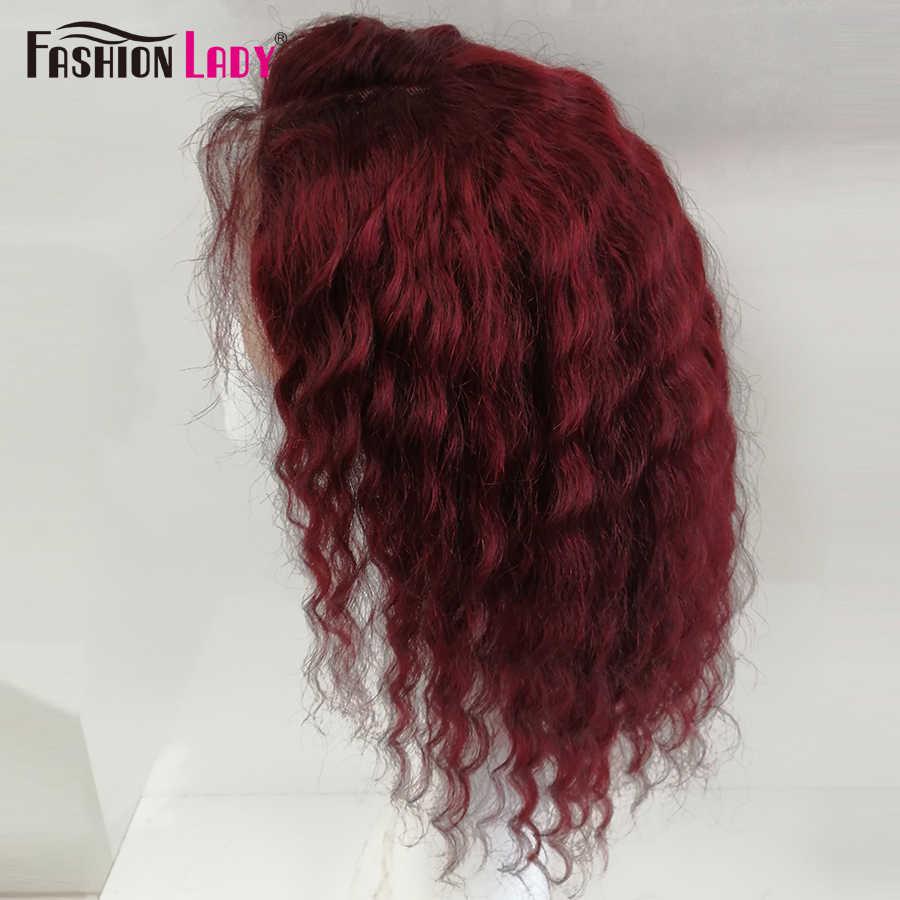 Perucas de cabelo humano frontal, pré-colorido vermelho escuro 99j renda peruca de cabelo humano, moda feminina, ondulado, curto cabelo brasileiro colorido, perucas