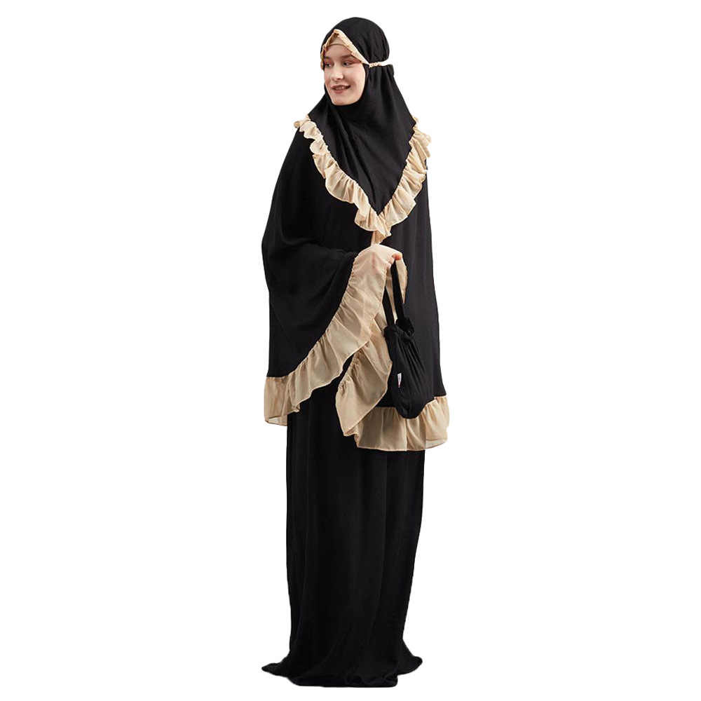 新しい女性セットアバヤ Jilbab ロングドレス Khimar イスラム服ヒジャーブスカートイスラム教徒のアラブ中東セット 2 個祈り衣服衣装