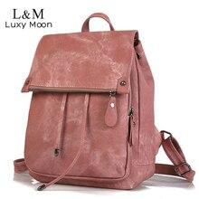 Vintage deri sırt çantası kadın sırt çantaları yüksek kaliteli çok fonksiyonlu omuzdan askili çanta kadın kızlar sırt çantası Retro Schoolbag XA533H