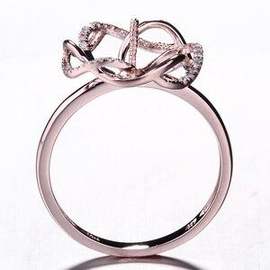 Image 5 - HELON Solido 14K Rose Gold Pave Diamante Naturale Cerimonia Nuziale Di Aggancio Semi Anello di Supporto Impostazione Donne Gioielleria Raffinata fit 8  11 millimetri Perla