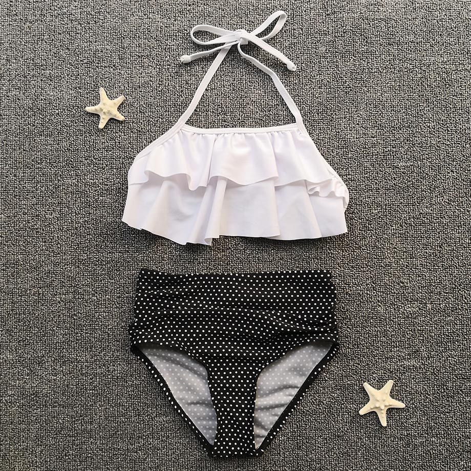 High Waist Girl Bikini Polka Dot Girl Swimsuit Kids Swimwear Falbala Teenager Girl Swimming Bathing Suit White Children Swimwear