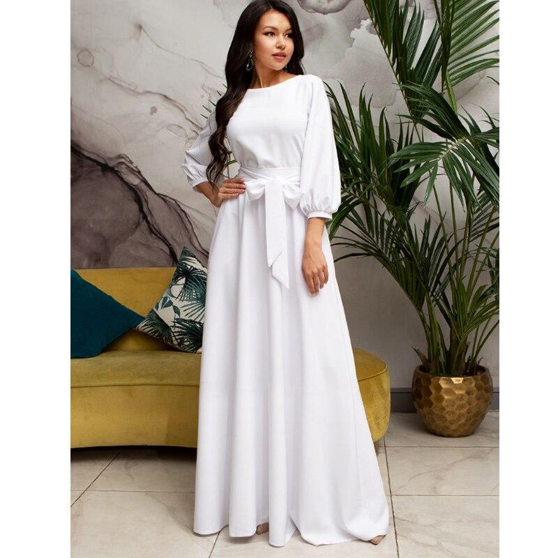 2019 Autumn Winter Vintage Solid Lantern Sleeve Maxi Long Dress Ladies O Neck Elegant Party Dress Women Casual Bow Sashes Dress