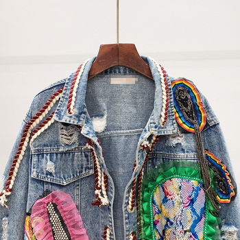 2020 Spring Autumn Streetwear Print Hole Diamonds Denim Jacket Women Mesh Lace Up Short Casual Jean Coat Female Outwear Tops 2