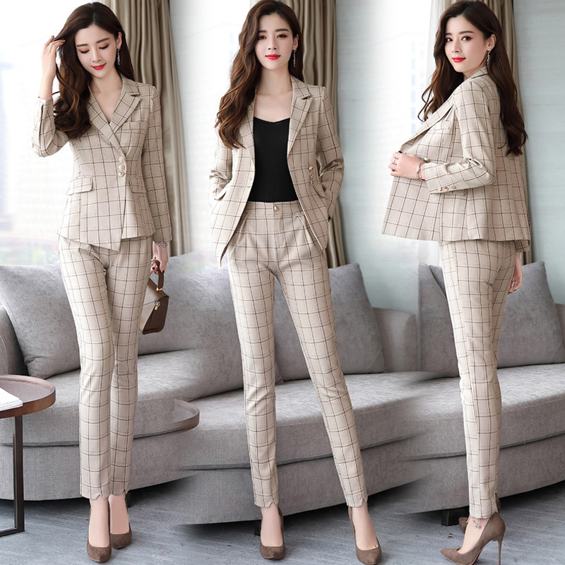 Ladies Suit Autumn And Winter New Fashion Temperament Hipster Plaid Suit Pants Pants Set Two Sets Of Wild Women's Clothing