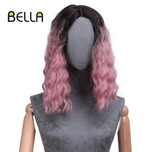 Rosa loira frente do laço peruca onda de água cabelo ombre peruca de renda sintética simulado couro cabeludo 14 Polegada parte do meio lolita peruca cosplay bella
