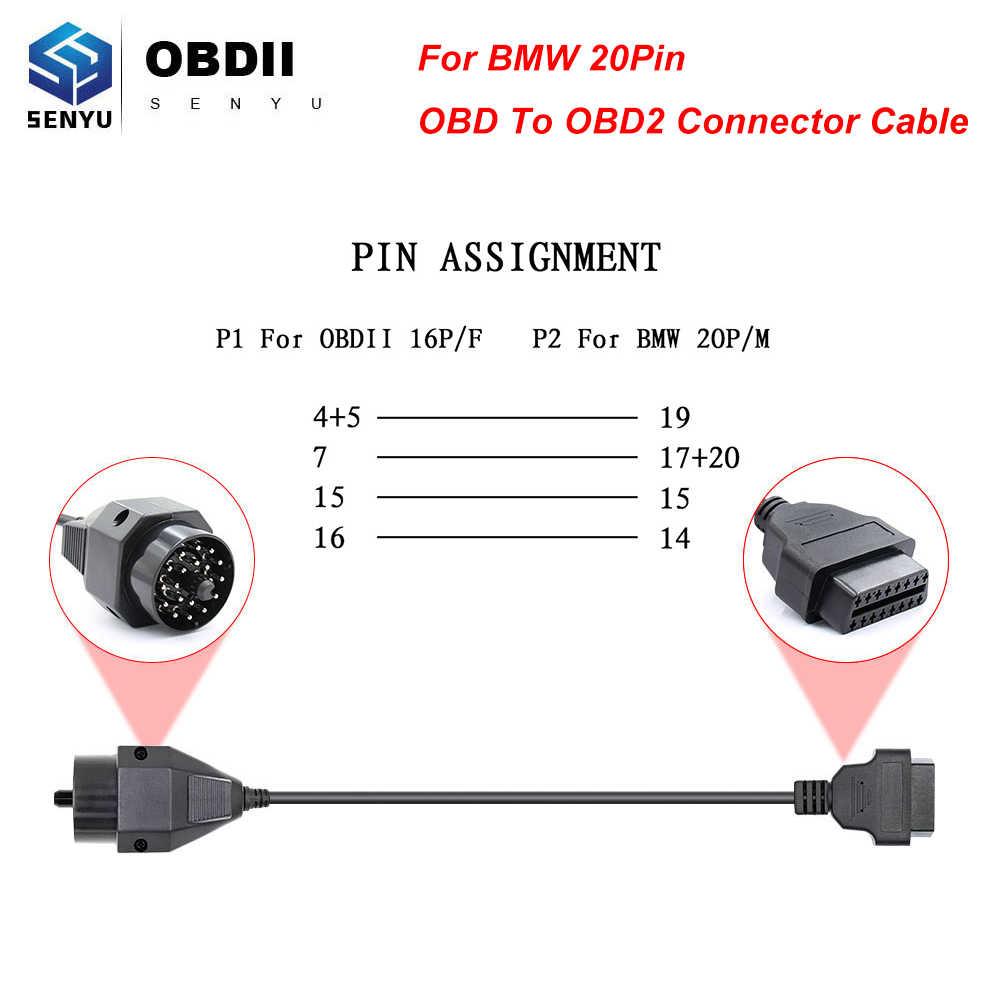 ل BMW OBD 2 OBD2 20 دبوس موصل كابل OBD إلى OBD2 سيارة التشخيص السيارات أداة سيارة تمديد كابل ل BMW الماسح الضوئي ل ICOM التالي