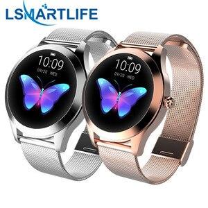 Image 1 - IP68กันน้ำสมาร์ทนาฬิกาผู้หญิงน่ารักสร้อยข้อมือHeart Rate Monitor Sleep Smartwatchเชื่อมต่อIOS Android KW10 Band