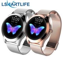 IP68 עמיד למים חכם שעון נשים יפה צמיד קצב לב צג שינה Smartwatch Connect IOS אנדרואיד KW10 להקה
