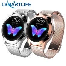 IP68 wodoodporny inteligentny zegarek kobiety śliczna bransoletka pulsometr sen Smartwatch podłącz IOS Android KW10 Band