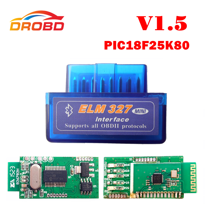 V1.5 Super MINI <font><b>ELM327</b></font> Bluetooth ELM 327 Version <font><b>1.5</b></font> With PIC18F25K80 Chip OBD2 / OBDII for Android Torque Car Code Scanner image