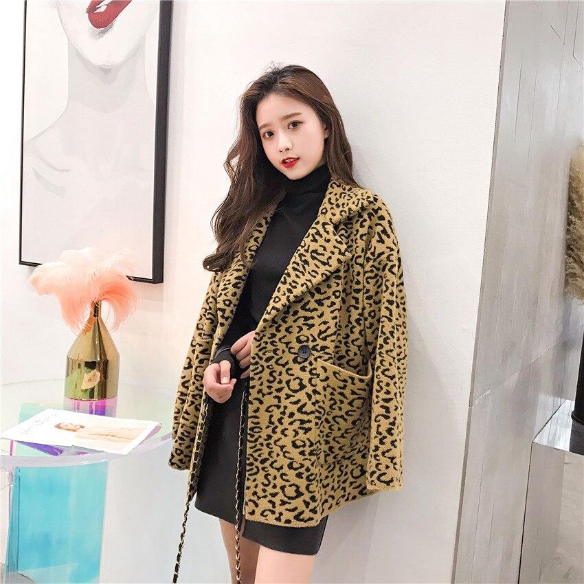 Manteau de laine femmes manteau de mode lâche avec poche plaine teint léopard couleurs femmes manteau de laine dames élégant bouton manteau d'hiver