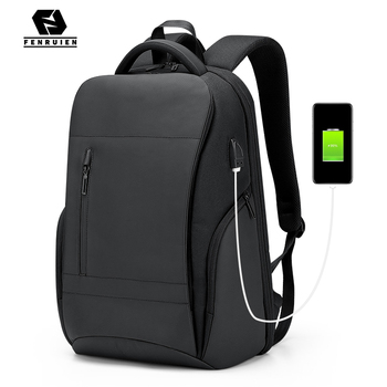 Fenruien Brand Men Business Travel Backpack Large Capacity 15.6 Inch Laptop Backpacks USB Charging Waterproof Backpacking Bag fenruien brand 17 inch laptop backpack men usb charging travel backpacking school bag nylon waterproof anti theft backpacks