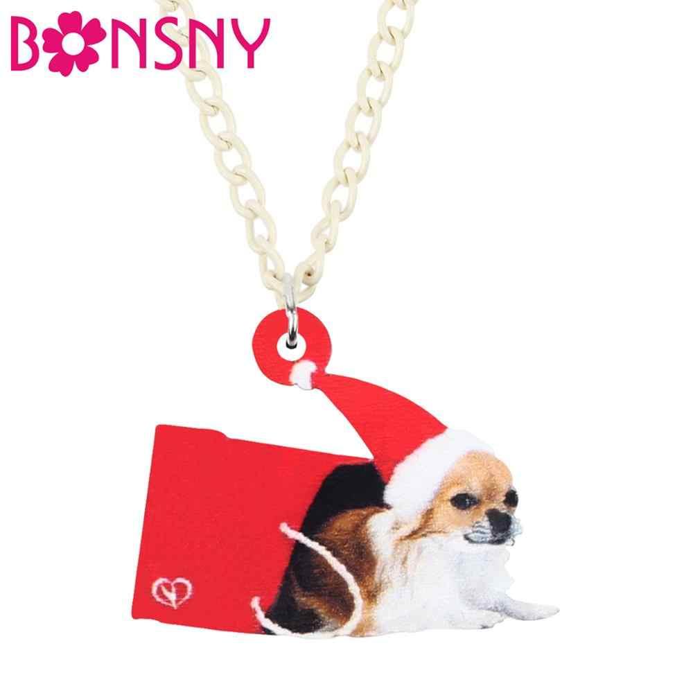 Bonsny Acrylic Christmas หมวก Chihuahua สุนัขของขวัญกล่องสร้อยคอสร้อยคอสร้อยคอสร้อยคอสร้อยคอเครื่องประดับสำหรับวัยรุ่นหญิงของขวัญอุปกรณ์เสริม