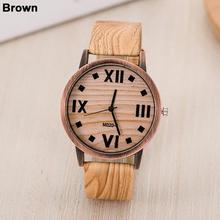 Unisex Classic Wood Pattern Roman Number Quartz Watch Women