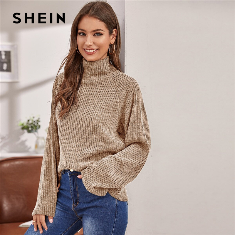 SHEIN High Neck Solid Ribbed Knit Women Casual Spring Sweater Long Sleeve Stretchy Basic Office Ladies Winter Sweaters Tops