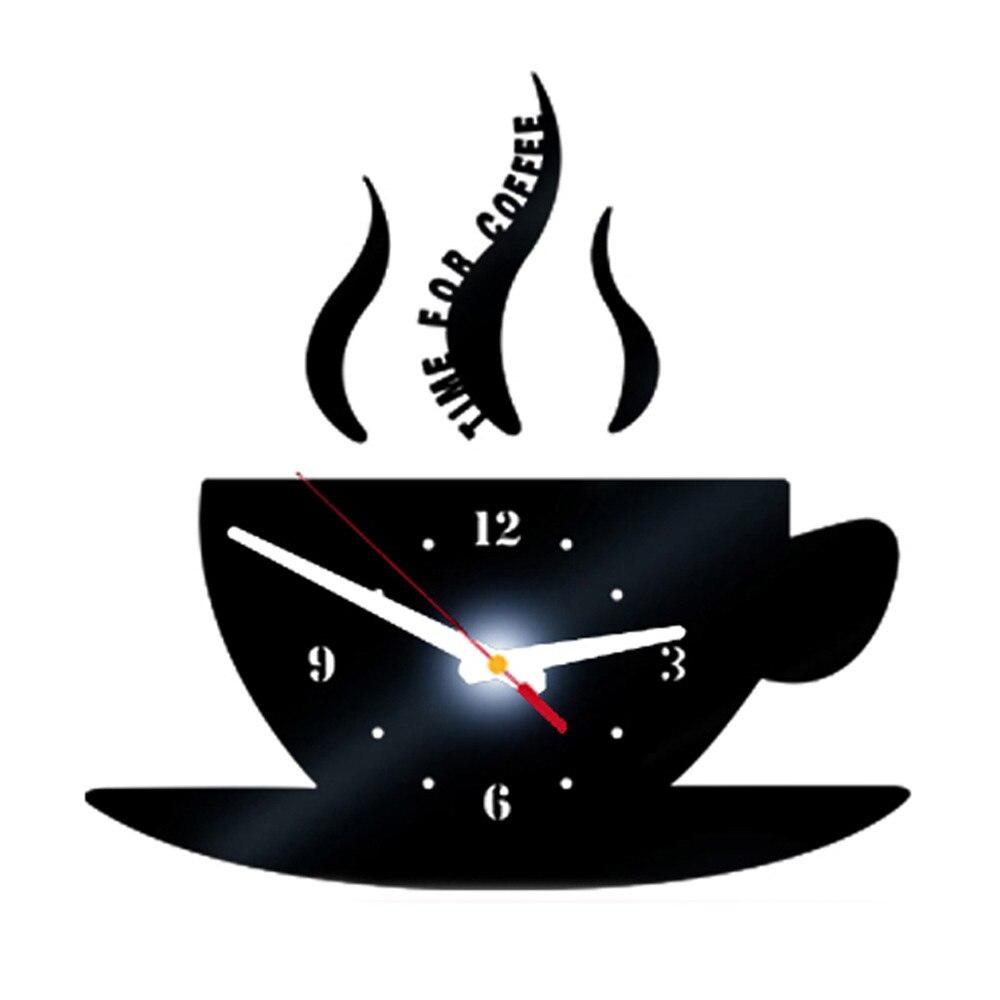 Coffee Shape Removable Diy Acrylic 3d Mirror Wall Sticker Decorative Clock Wall Clock Quartz Watch Reloj De Pared Living Room 8